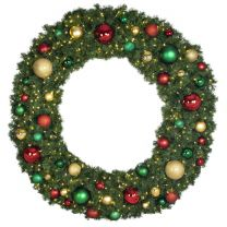 """72"""" Lit LED Warm White Decorated Wreath - Colors of the Holidays - Bow Option Available"""