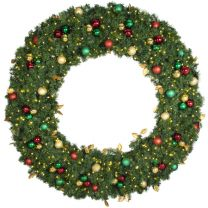 """72"""" Lit LED Warm White Decorated Wreath - Traditional Décor - Bow Option Available"""