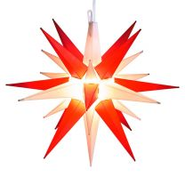 red and white moravian star tree topper