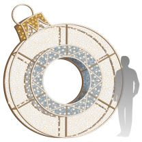 10' 3D LED Ornament Icon - w/Silver Garland and Warm White Lights