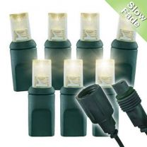 """Slow Fade Warm White Wide Angle Conical - 4"""" Spacing, 70 bulb, grn cord, UL Coaxial RY Plug - Full Wave"""