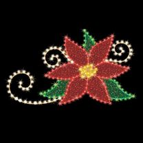 "Corner Poinsettia 6' 9"" W x 4' T, 153 Bulbs, LED"
