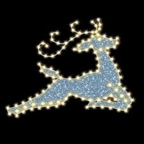 "Flying Reindeer 7' 6"" W x 5' 9"" T, 147 Bulbs, LED"