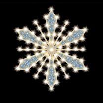 """Glittered-Filled Snowflake, 24"""", 37 Bulbs, LED"""