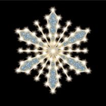 """Glittered-Filled Snowflake, 36"""", 70 Bulbs, LED"""