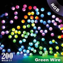 """Twinkly Pro - RGB Capsule - 200 Lights - 4"""" Spacing - Green Wire - Dual Line"""