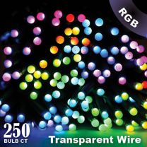 """Twinkly Pro - RGB Capsule - 250 Lights - 4"""" Spacing - Transparent Wire - Single Line"""