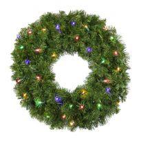 "24"" Lit Multi Deluxe Oregon Fir Wreath - Bow Option Available"