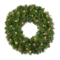 """24"""" Lit Warm White and Red Deluxe Oregon Fir Wreath - Bow Option Available"""