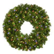 "36"" Lit Multi Deluxe Oregon Fir Wreath - Bow Option Available"