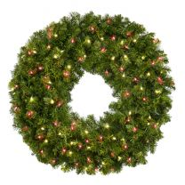 """36"""" Lit Warm White and Red Deluxe Oregon Fir Wreath - Bow Option Available"""