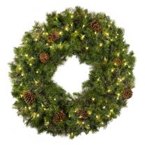 """36"""" Deluxe Mixed Pine Wreath, Lit - Bow Option Available"""