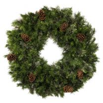"""36"""" Unlit Deluxe Mixed Pine Wreath - Bow Option Available"""
