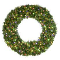 "48"" Lit Multi Deluxe Oregon Fir Wreath - Bow Option Available"