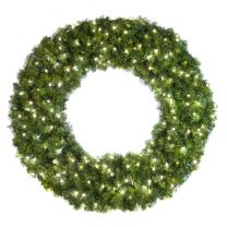 """48"""" Lit Pure White Deluxe Oregon Fir Wreath - Bow Option Available"""