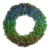 """48"""" Twinkly Pro RGBW Deluxe Oregon Fir Wreath - Bow Option Available"""