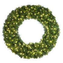 """48"""" Lit Warm White Deluxe Oregon Fir Wreath - Bow Option Available"""