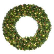 """48"""" Lit Warm White and Red Deluxe Oregon Fir Wreath - Bow Option Available"""