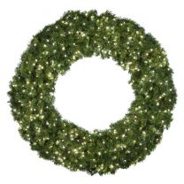 """60"""" Lit Pure White Deluxe Oregon Fir Wreath - Bow Option Available"""