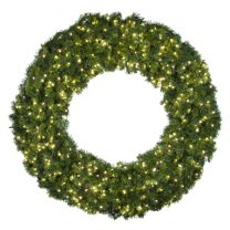 """60"""" Lit Warm White Deluxe Oregon Fir Wreath - Bow Option Available"""