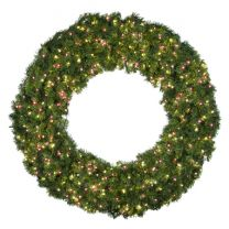 """60"""" Lit Warm White and Red Deluxe Oregon Fir Wreath - Bow Option Available"""