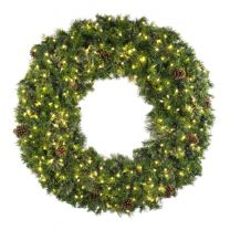"""84"""" Deluxe Mixed Pine Wreath, Lit - Bow Option Available"""