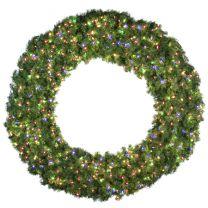 "72"" Lit Multi Deluxe Oregon Fir Wreath - Bow Option Available"
