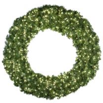 """72"""" Lit Pure White Deluxe Oregon Fir Wreath - Bow Option Available"""