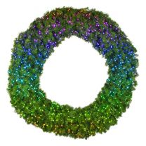 """72"""" Twinkly Pro RGBW Deluxe Oregon Fir Wreath - Bow Option Available"""