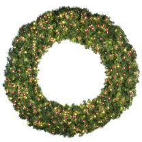 """72"""" Lit Warm White and Red Deluxe Oregon Fir Wreath - Bow Option Available"""