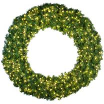 """84"""" Lit Warm White Deluxe Oregon Fir Wreath - Bow Option Available"""