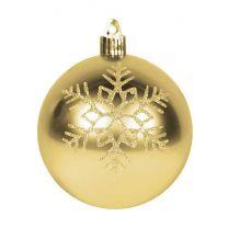 """4"""" Shiny Gold w/Gold Triple Snowflake"""