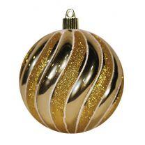 "4 3/4"" Swirled Ball - Shiny Gold w/Gold Glitter Swirls"