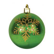 """4"""" Shiny Lime Green w/Gold Triple Snowflake"""