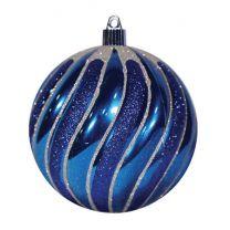 "4 3/4"" Swirled Ball - Shiny Blue w/Blue Glitter Swirls"