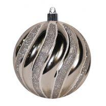 "4 3/4"" Swirled Ball - Shiny Silver w/Silver Glitter Swirls"