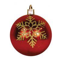 "4"" Shiny Red w/Gold Triple Snowflake"