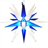 white & blue moravian star tree topper