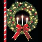 4' Oregonian Tri-Candle Wreath, LED