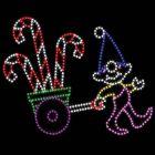 9' Elf Pulling Candy Canes, LED