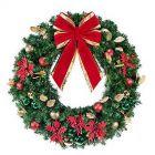 """48"""" Unlit Wreath Decorated Elegant Poinsettia"""