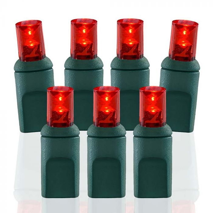 Wide Angle Conical Battery Operated Led D Cell 50 Lights Red