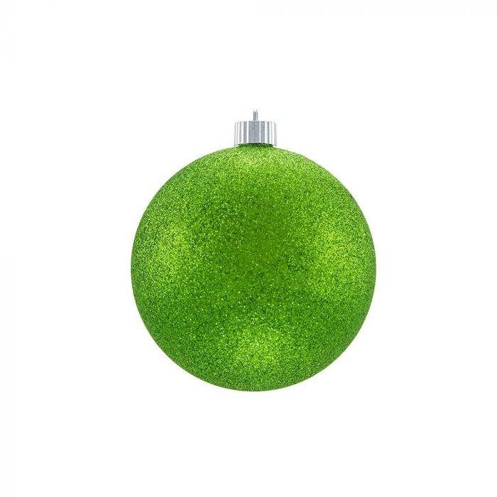 Glittered Christmas Ornaments Lime Green
