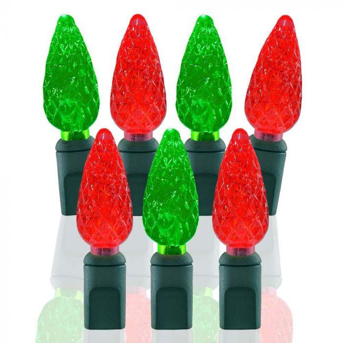 70 Light Red & Green C6 LED Christmas Lights