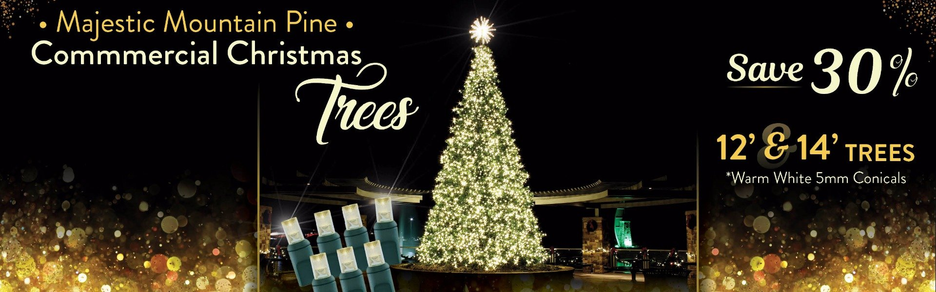 12' and 14' Majestic Mountain Pine Commercial Christmas Tree Save 30% on Warm White 5mm Conicals