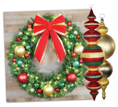 christmas wreath with bow and ornaments - Municipal Christmas Decorations
