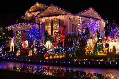 Christmas Enthusiast Home Lit Up