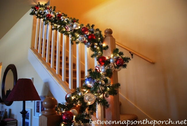 christmas banister garland - Banister Christmas Garland Decor