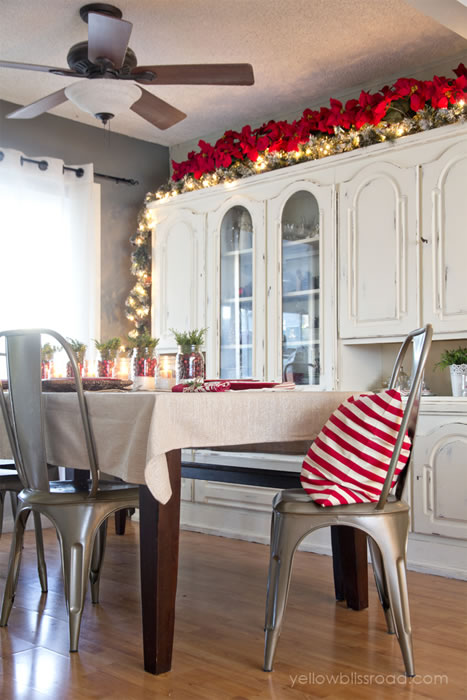 Christmas Garland on cabinets