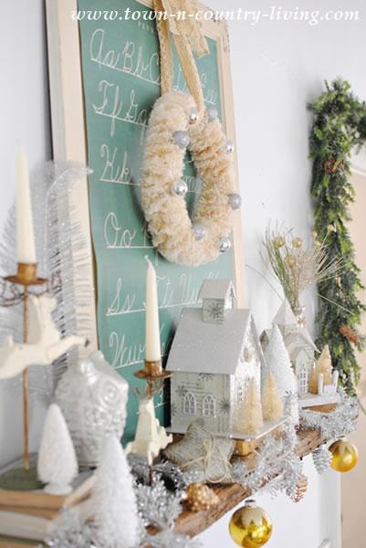 Vintage White Christmas Mantel